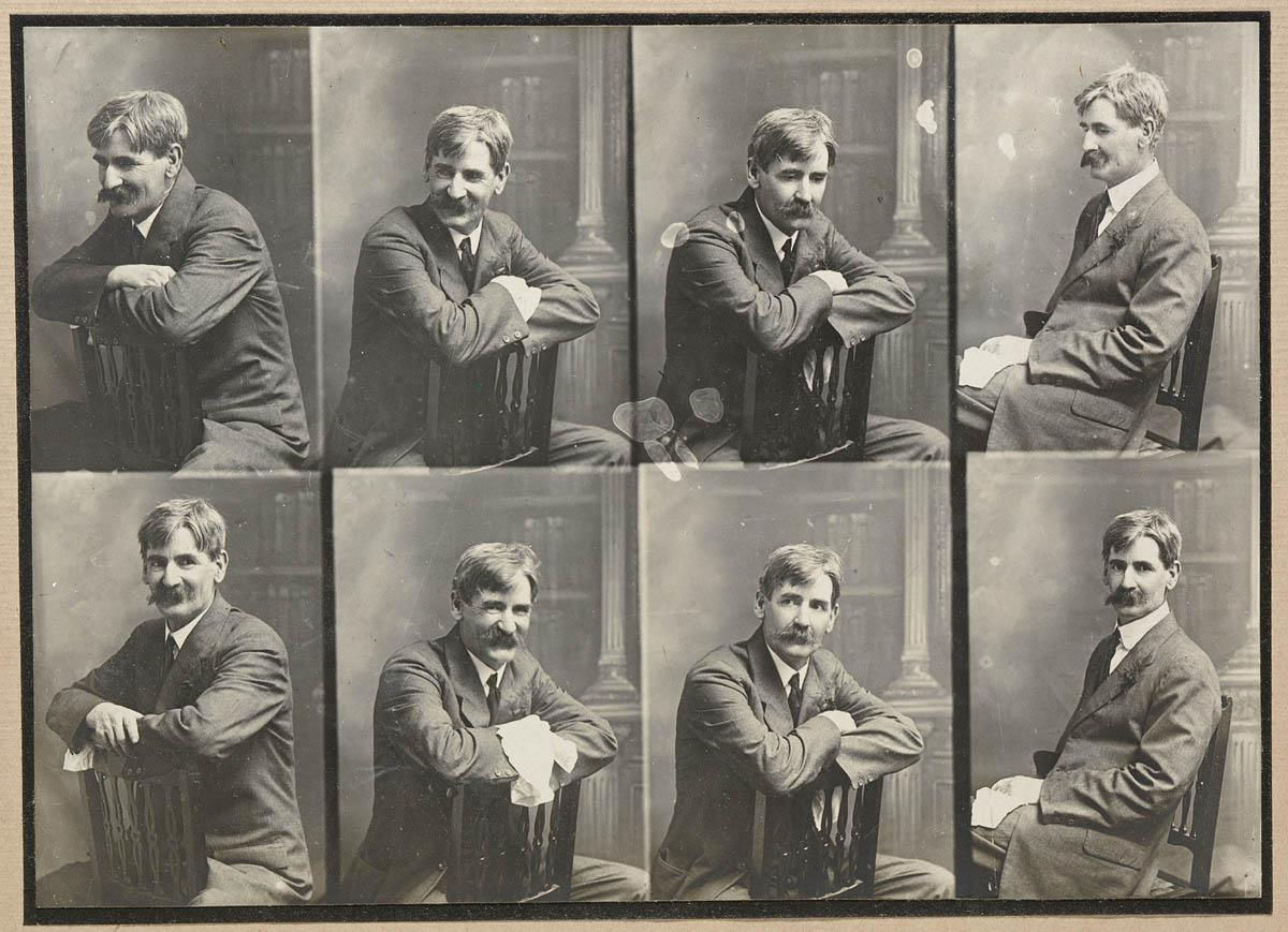 Eight half-length separate portraits of Henry Lawson sitting on a chair.